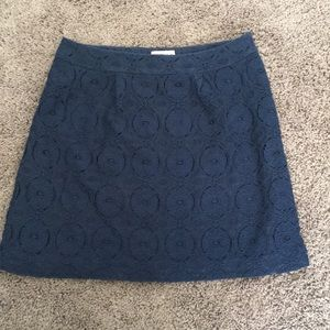 Navy blue lace lined above the knee skirt